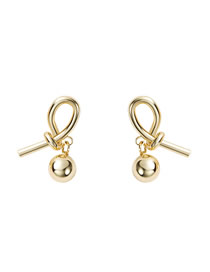 Fashion Gold Abstract Design Rope Knot Earrings