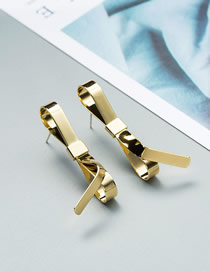 Fashion Gold Metal Bow Gold Plated Earrings