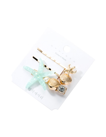 Fashion Blue Alloy Resin Starfish Shell Hairpin Three-piece