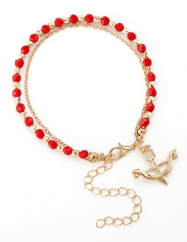 Fashion Red Glass Beads Beaded Bow And Arrow Bracelet