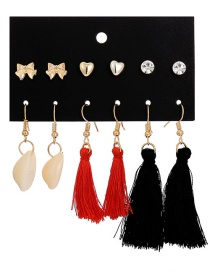 Fashion Color Shell Fringed Beach Heart Shaped Earrings Set 6 Pairs