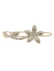 Fashion Gold Plum Blossoms With Diamond Hair Clips