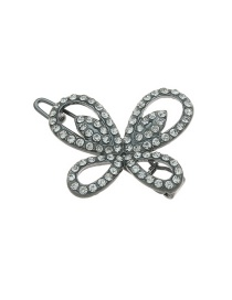 Fashion Black Geometric Flower Butterfly Hollow Diamond-studded Hairpin