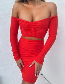 Fashion Red One-neck Long-sleeved Umbilical Fold Dress