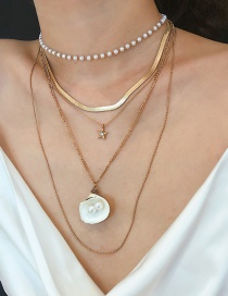 Fashion Gold Alloy Micro-set Natural Scallop Pearl Necklace