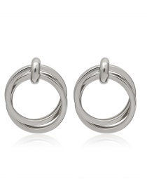 Fashion Silver Double Spiral Geometric Round Earrings