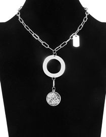 Fashion White K Metal Embossed Coin Necklace