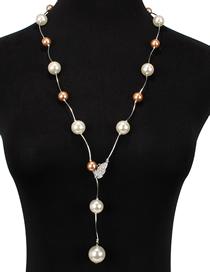 Fashion Brown Diamond-like Pearl Necklace