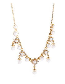 Fashion Gold Multi-layer Pearl Fringe Necklace
