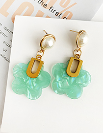 Fashion Blue Alloy Resin Flower Earrings