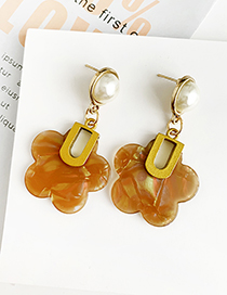 Fashion Coffee Color Alloy Resin Flower Earrings
