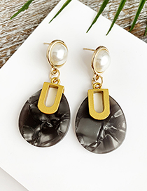 Fashion Black Alloy Resin Oval Earrings
