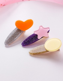 Fashion Orange Powder Colorful Love Stars Round Hair Clips Three-piece