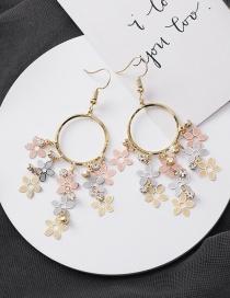 Fashion Gold Ring Rhinestone Flower Tassel Earrings