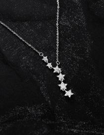 Fashion Silver Micro-inlaid Zircon Star Necklace