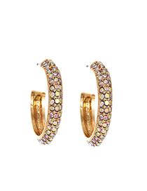 Fashion Ab Color Alloy Studded Medium Earrings