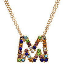 Fashion Letter M Alloy Diamond Alphabet Necklace