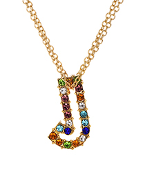Fashion Letter J Alloy Diamond Alphabet Necklace