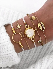 Fashion Gold Starfish Shell Bracelet Set
