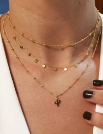 Fashion Gold Cactus Sequins Multi-layer Necklace