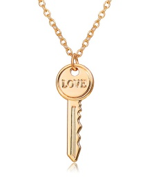 Fashion Gold Love Key Metal Necklace