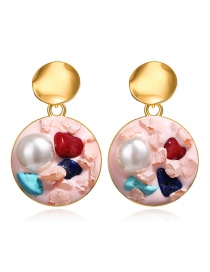 Fashion Pink Inlaid Pearl Stone Round Earrings