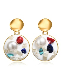 Fashion White Inlaid Pearl Stone Round Earrings
