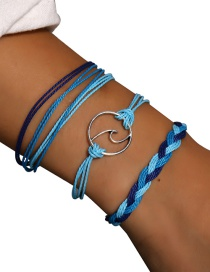 Fashion Silver Wave Braided Bracelet Three-piece
