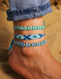 Fashion Blue-green Small Diamond Color Rope Woven Anklet