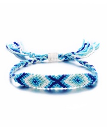 Fashion Blue And White Large Diamond Color Rope Woven Anklet