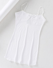 Fashion White Lace-trimmed Threaded Dress