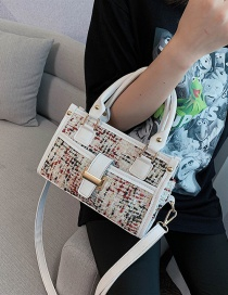 Fashion White Woolen Stitching Shoulder Bag
