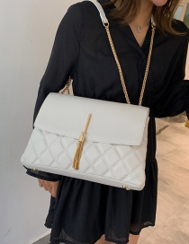 Fashion White Lingge Tassel Shoulder Shoulder Bag