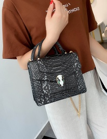 Fashion Contrast Black Serpentine Shoulder Bag Shoulder Chain Bag