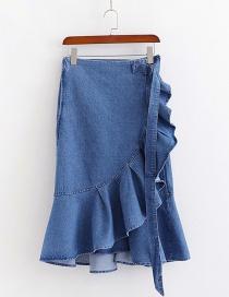 Fashion Blue High-waist Ruffled Irregular Denim Skirt