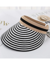 Fashion Black Striped Straw Empty Top Hat