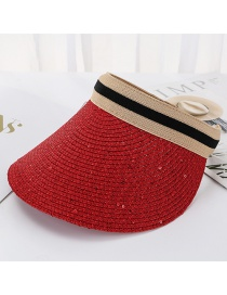Fashion Red Bright Line Woven Empty Straw Hat