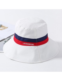 Fashion White Color Matching Letters Fisherman Hat