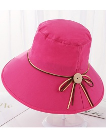 Fashion Rose Red Tethered Wooden Buckle Foldable Fisherman Hat