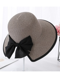Fashion Gray Encrypted Edging Slit Bow Visor