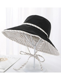 Fashion Black Double-sided Cotton Full-length Striped Tether Sun Hat