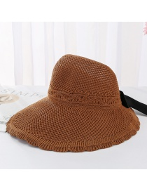 Fashion Caramel Colour Bow Knit Empty Top Visor