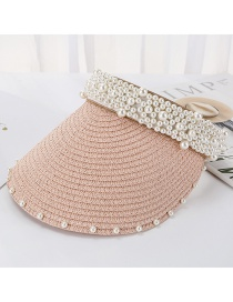 Fashion Pink Sewn Pearl Empty Straw Hat