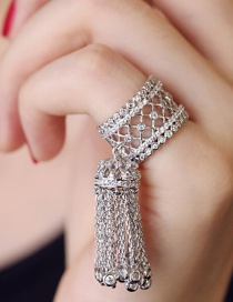 Fashion A Silver Copper Zircon Micro-set Tassel Opening Ring