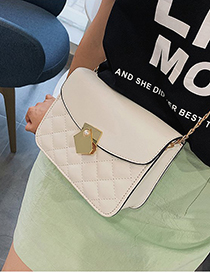 Fashion White Car Line Square Shoulder Diagonal Package