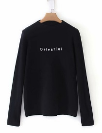 Fashion Black Letter Embroidery Long Sleeve Sweater