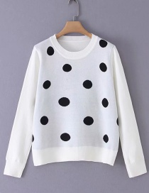 Fashion White Polka Dot Crew Neck Long Sleeve Sweater