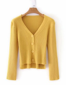 Fashion Yellow V-neck Cardigan