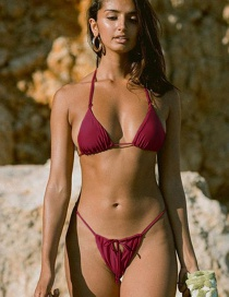 Fashion Wine Red Lace-up Split Swimsuit