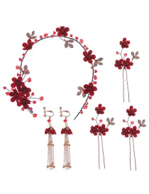Fashion Red Flower Hair Band Hair Set